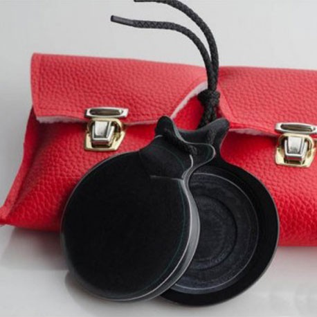 Castañuela Jota de tela negra veteada doble caja