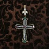 Cruz de plata y circonitas roja y verde
