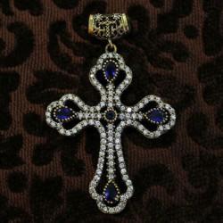 Cruz de plata y circonitas azul o verde